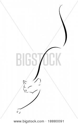 vector image of steal cat contour