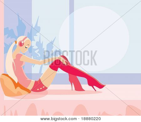 vector image of sitting girl