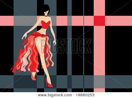 vector image of walking girl. may be use for fashion show cards and posters
