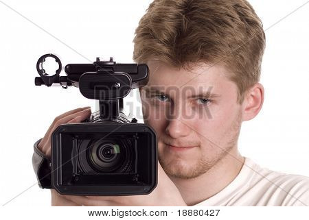 video operator with camcorder isolated on white