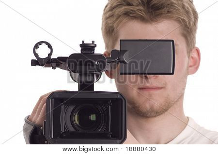 teenager with video camcorder isolated on white. you can write your info on black LCD part