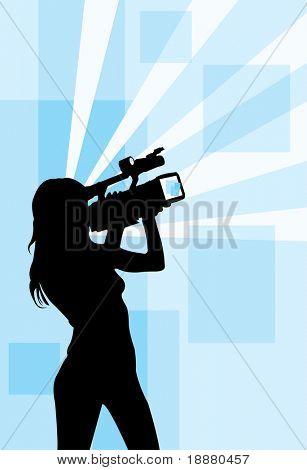 imagem vetorial de menina com filmadora