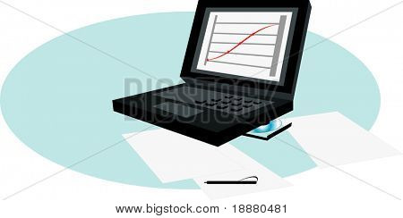 vector image of laptop with diagram on screen