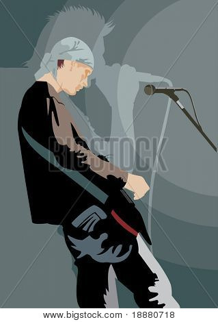 vector image of young guitarist