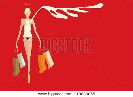 vector image of angel after shopping isolated on red
