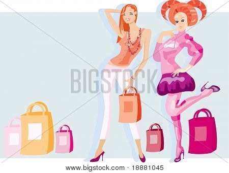 vector image of two girls after shopping