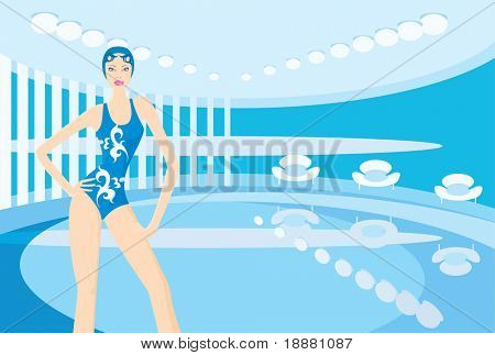 vector image of indoor swimming-pool