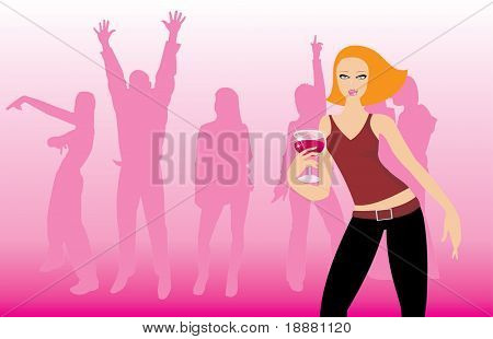 vector image of disco party. may be use like background