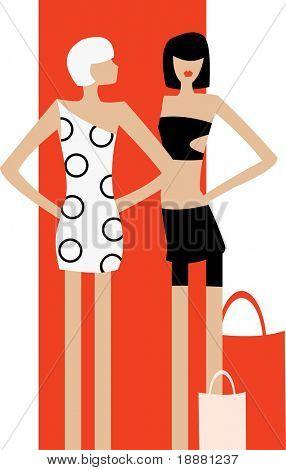 imagem vetorial de duas meninas depois das compras