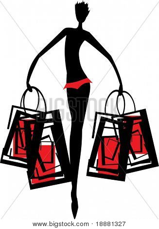 vector image of silhouette of woman with handbag after shopping isolated on white
