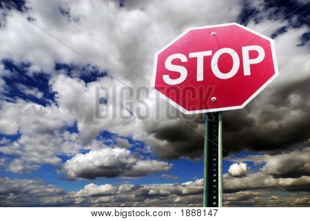 Stop Sign With Cloud Background