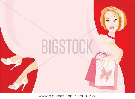 vector image of woman with ironical smile. good use like background. there is blank area on curtain for your info