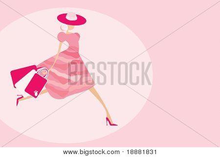Vector de la imagen de chica guapa después de compras