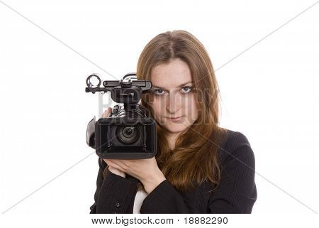 young video operator with digital camcorder isolated on white
