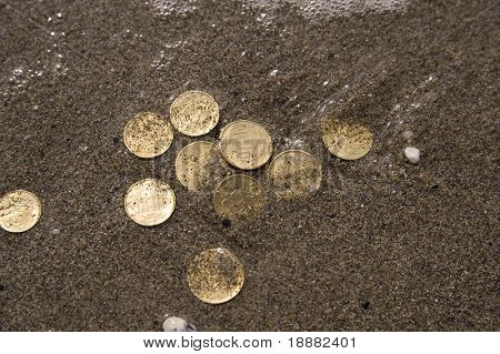 close up of few coins under water