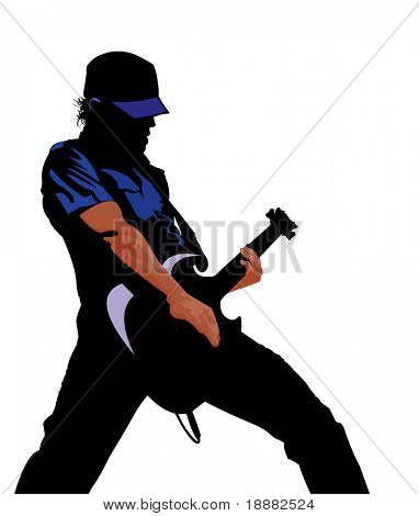 vector image of guitarist isolated on white