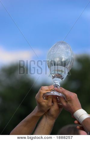 Hands Reaching For A Trophy