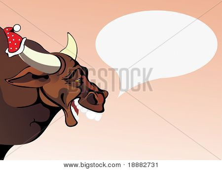vector image of drunken bull. good use for Christmas cards and posters