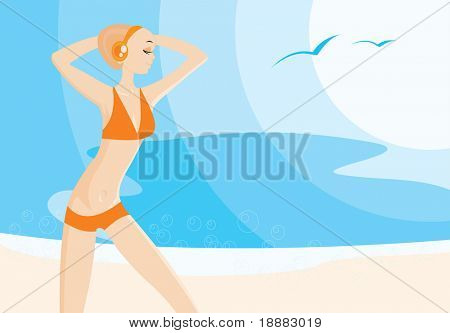 vector image of pretty young woman on the beach