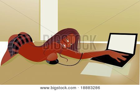 vector image of sexy woman with laptop