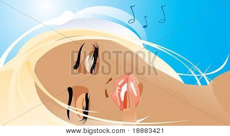 vector image of pretty woman listening to music