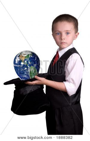 Child Magician With Globe
