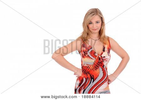 Pretty blonde disappointment woman isolated on white