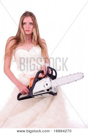 calm bride with saw isolated on white