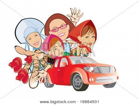 cartoon vector image of four girls in red car. isolated on white. good use for party cards and posters