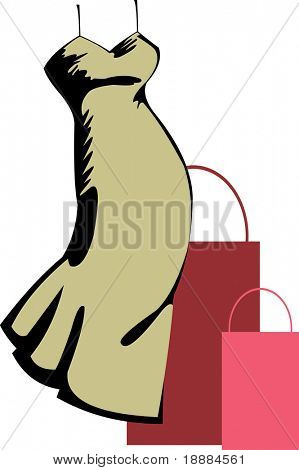simple vector image of olive green dress and two handbags