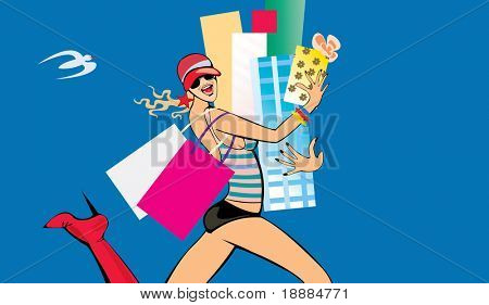 vector image of happy running girl with presents after shopping