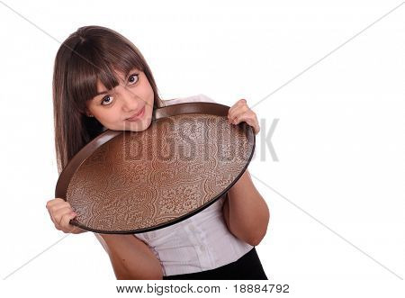 young waitress holding tray by two hands. isolated on white
