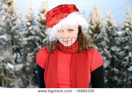 young girl in the red hat, may be use for christmas cards and posters