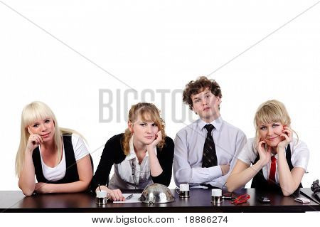boring business team working together at office, isolated on white