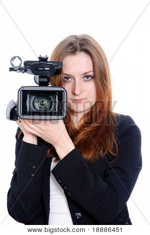 young video operator with HDV camcorder