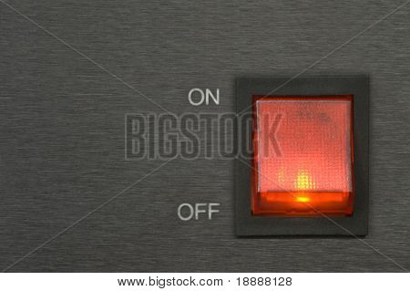 On-off red switch button on chromed background