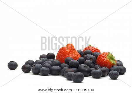 strawberry and bilberry on white background 2