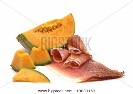 delicacy-melon and meat on white background 3
