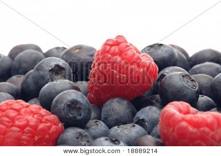 bilberry and raspberry on white background