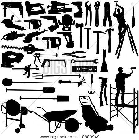 Vector de la imagen de la colección herramientas y trabajadores