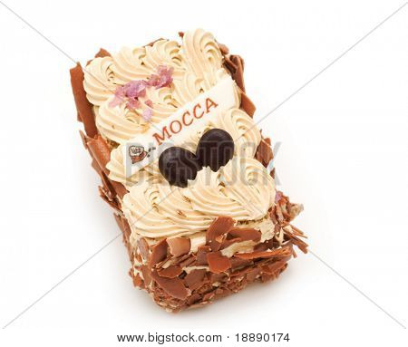 mocca cake on white background