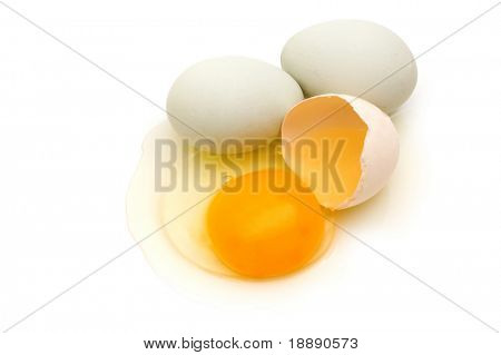 home eggs from village on white background