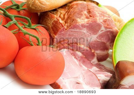 delicacy melon, ham and tomato