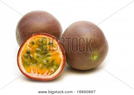 fresh passionfruit on white background
