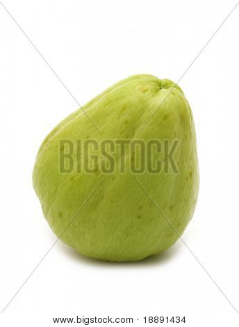 fresh chayote on white background