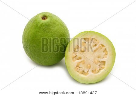 fresh slice guava on white background
