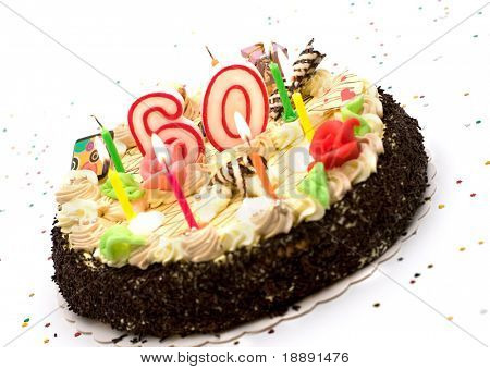 birthday cake for 60 years jubilee on white background with glitter