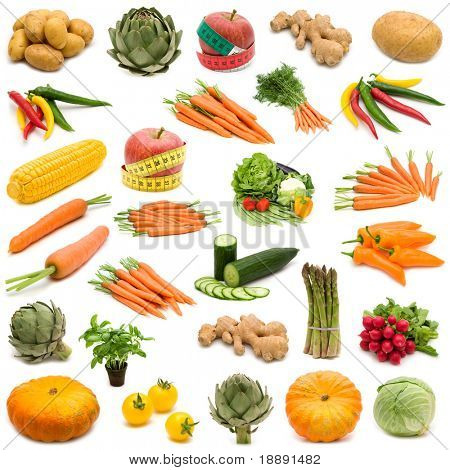 large page of fresh vegetables on white background