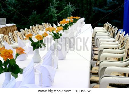White Table With Roses
