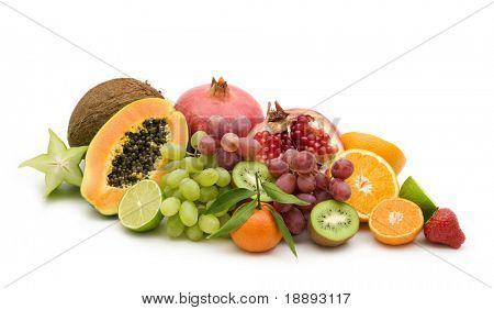 exotic fruits on white background